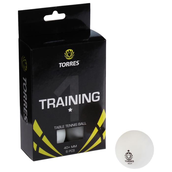 Мяч для настольного тенниса Torres Training, 1 звезда, набор 6 штук, цвет белый фото