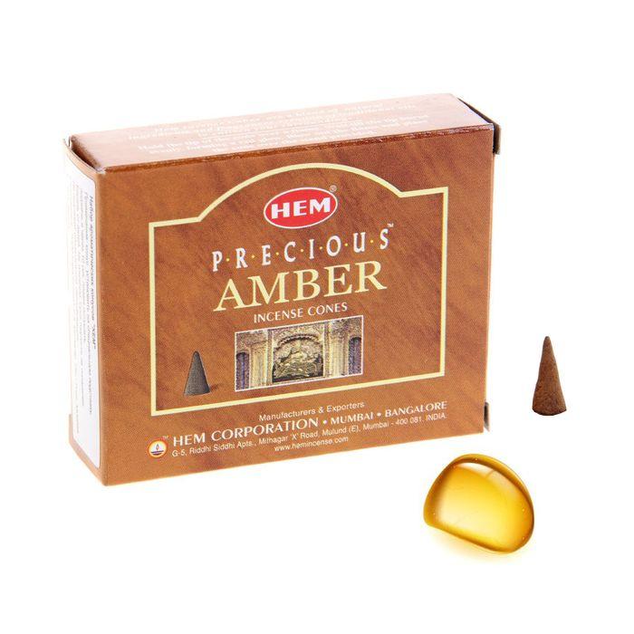 Благовония конус HEM Precious Amber Драгоценный янтарь 10 штук в упаковке фото