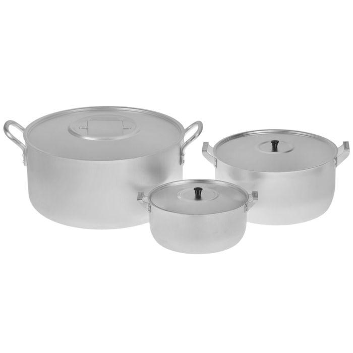 Набор посуды, 3 предмета: кастрюля 6 л; кастрюля 15 л; котелок 30 л фото