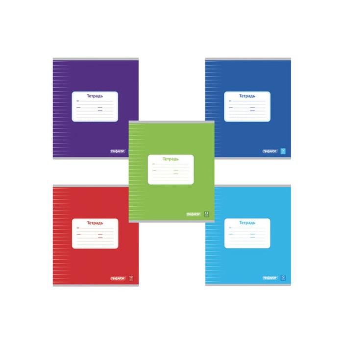 Тетрадь ПИФАГОР, 12 листов, линейка, офсет №2, обложка мелов. картон, блок 60 г/м2 фото
