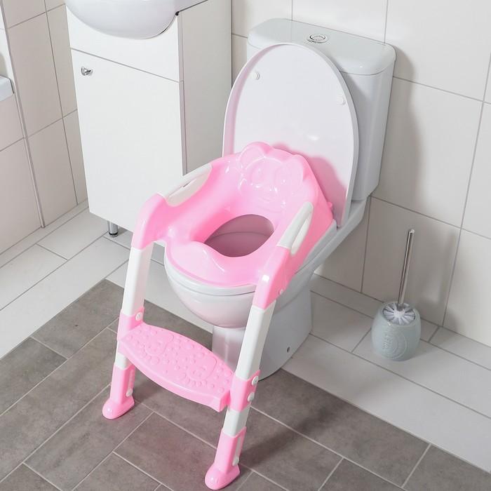 Сиденье на унитаз со ступенькой «Панда», с ручками, цвет розовый фото