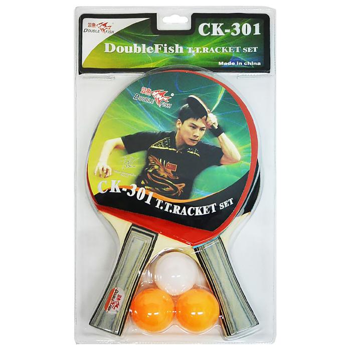 Набор для настольного тенниса Double Fish 2 ракетки и 3 мяча (301) фото