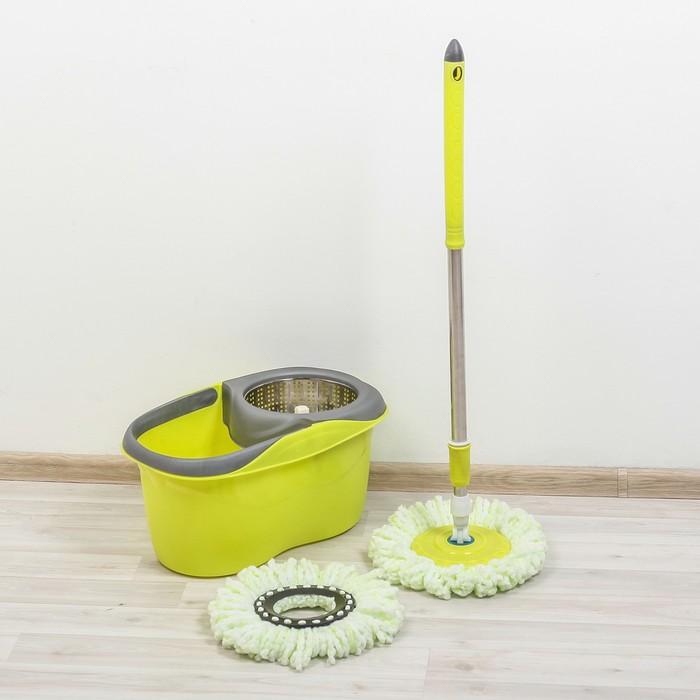 Набор для уборки: ведро с металлич. центрифугой, швабра, доп. насадка, цвет МИКС фото