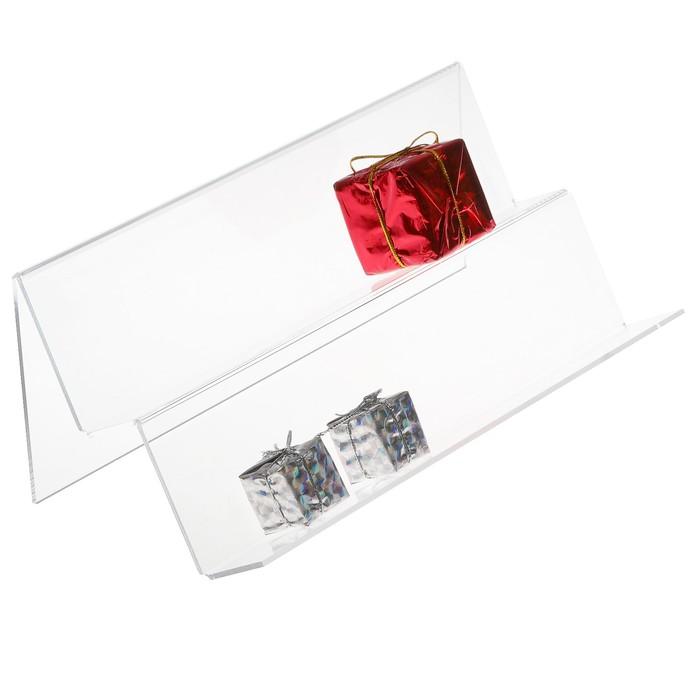 Ступенька двойная, наклонная 250*117*90, ступенька 30*60,оргстекло, цвет прозрачный фото