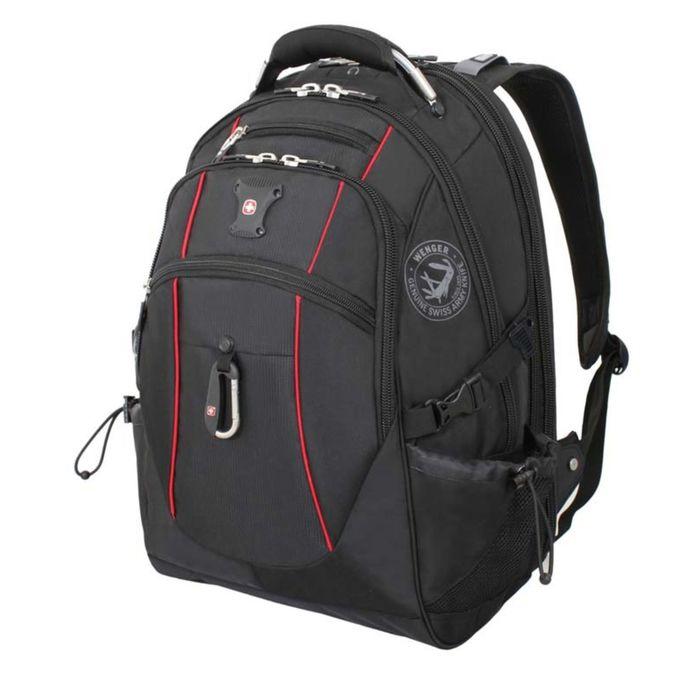"""Рюкзак WENGER, 15"""", чёрный/красный, полиэстер 900D/М2 добби, 34x23x48 см, 38 л фото"""