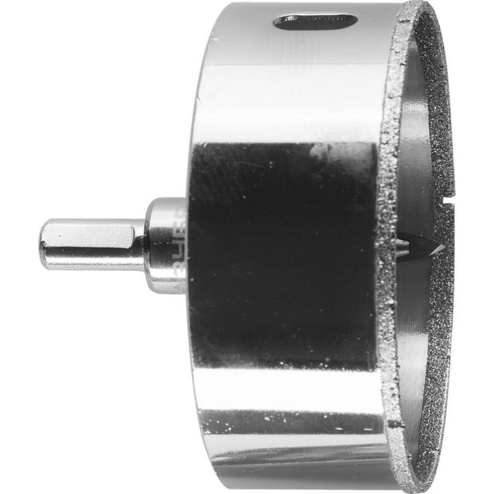 Коронка алмазная ЗУБР 29850-90, по кафелю и стеклу, d=90 мм, Р60, с центрирующим сверлом фото