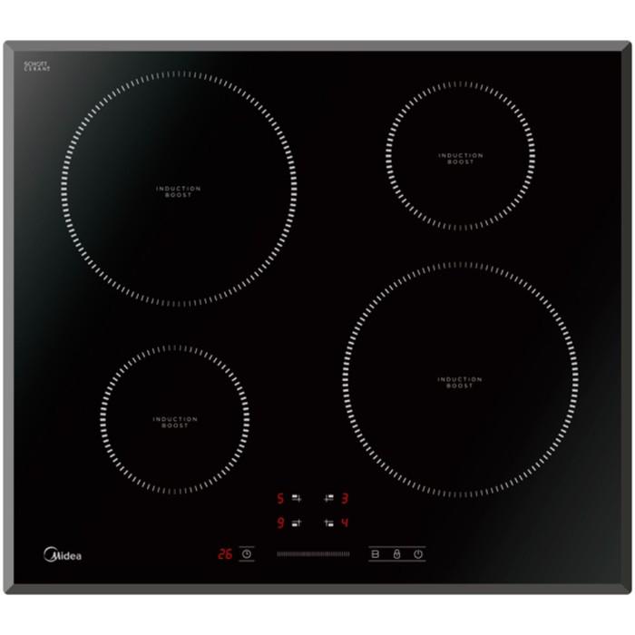 Варочная поверхность Midea MIH64721F, индукционная, 4 конфорки, черный фото