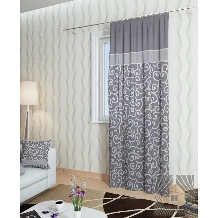 Портьера «Илвин-П», размер 148 × 260 см - 1 шт, серый фото