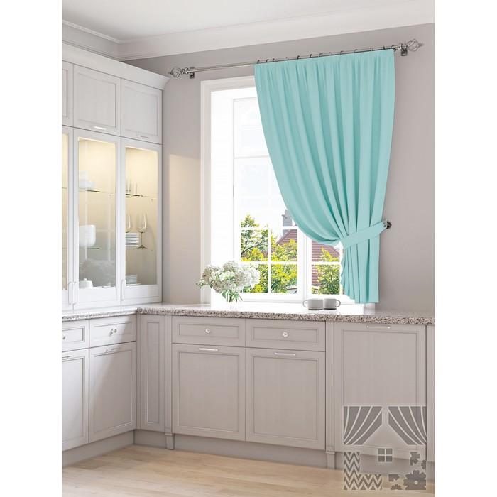 Портьера для кухни «Мартис», размер 150 × 180 см - 1 шт, голубой фото