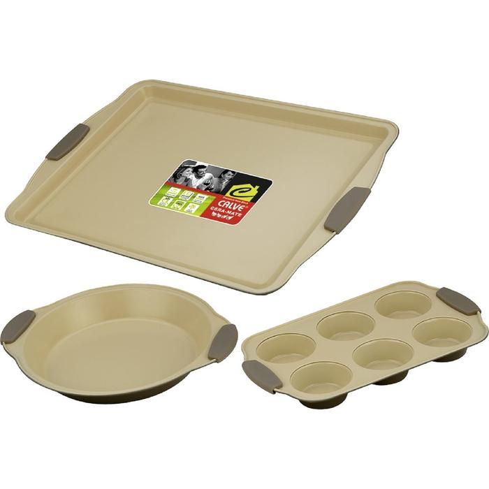 Набор для выпечки CALVE, 3 предмета: противень 44х30 см, форма для 6 кексов 30x19, форма для пирога фото