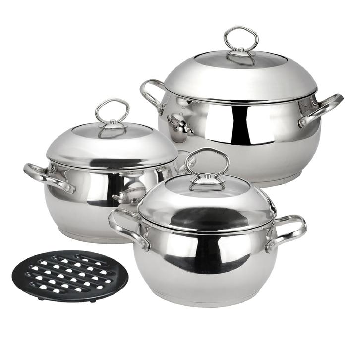 Набор посуды CALVE, 7 предметов: кастрюля с крышкой 2,8 л, кастрюля с крышкой 3,8 л, кастрюля с крыш фото
