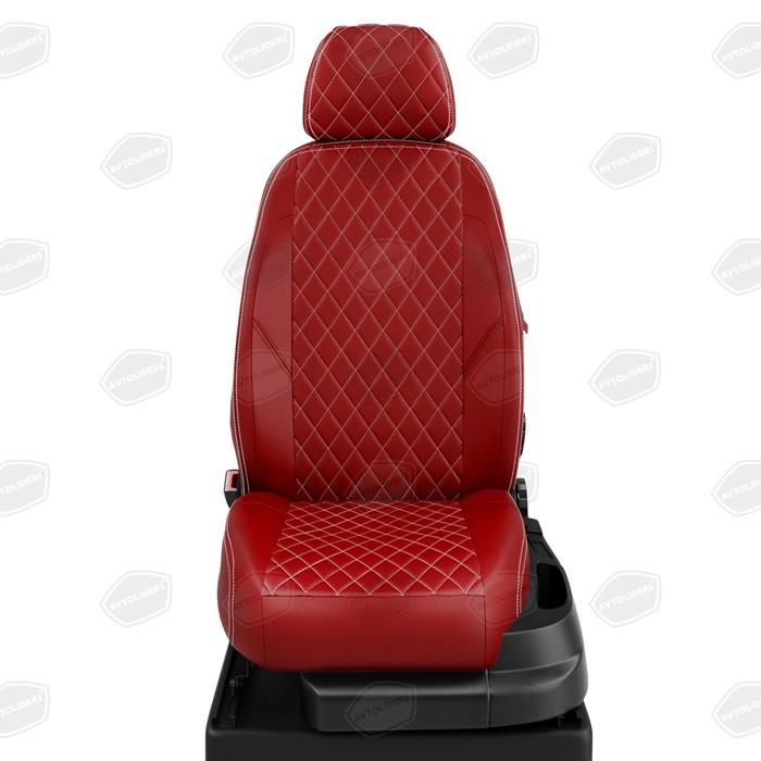 Авточехлы для Toyota Yaris 1 с 1999-2005г. хэтчбек спинка 40/60, сиденье единое, 5-подголовников. середина: экокожа красная с перфорацией. боковины: красная экокожа. спинка: красная экокожа фото