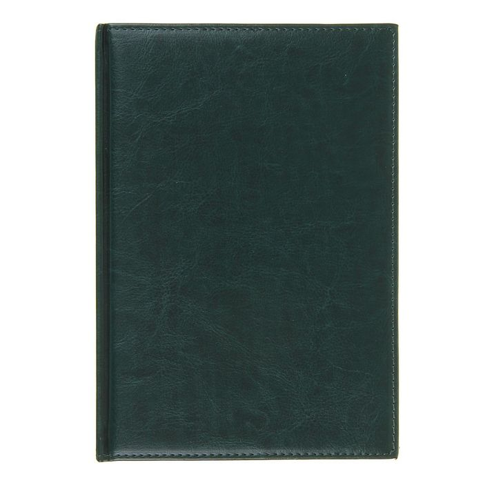 Ежедневник полудатированный,формат А5,193 листа,линия,золотой срез,перфорированный угол,ляссе,темно-зеленый фото