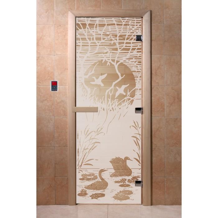 Дверь «Лебединое озеро», 200 × 80 см, левая, коробка ольха, цвет сатин фото
