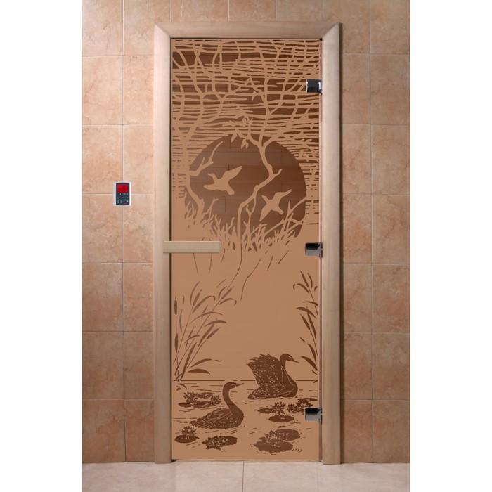 Дверь «Лебединое озеро», 200 × 80 см, правая, коробка ольха, цвет матовая бронза фото