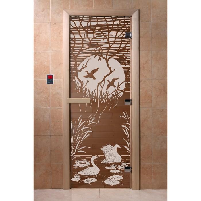 Дверь «Лебединое озеро», 190 × 70 см, левая, коробка ольха, цвет бронза фото