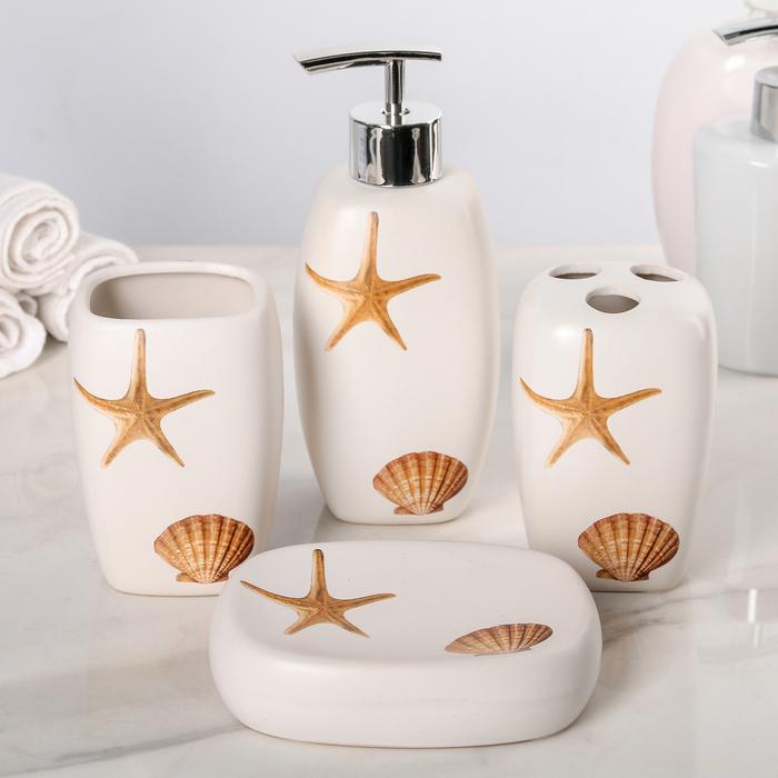 """Набор для ванной """"Море"""", 4 предмета (мыльница, дозатор для мыла, 2 стакана)"""