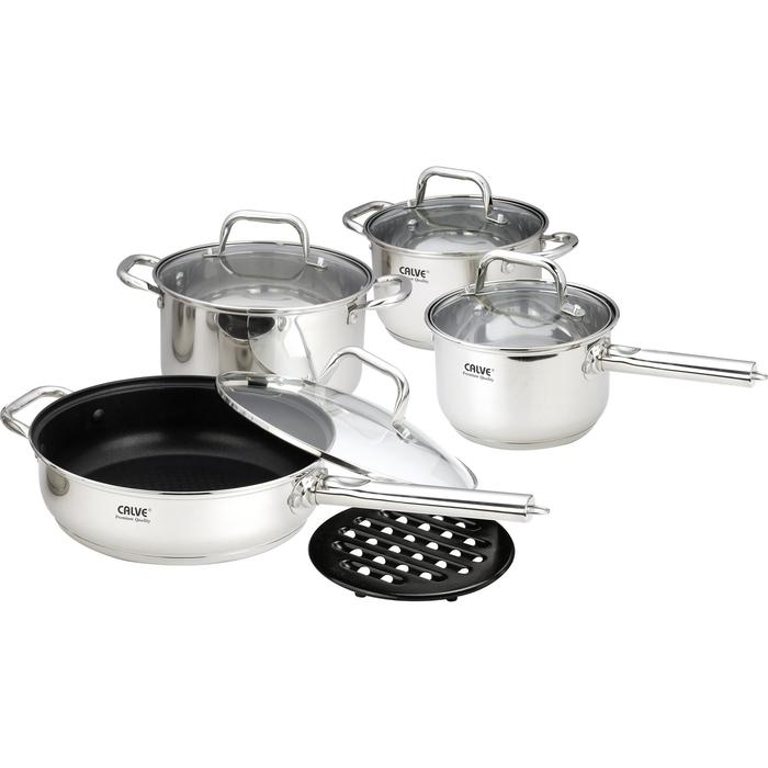 Набор посуды CALVE, 9 предметов: сотейник с крышкой 2,1л, кастрюля с крышкой 2,9 л, кастрюля с крышк фото