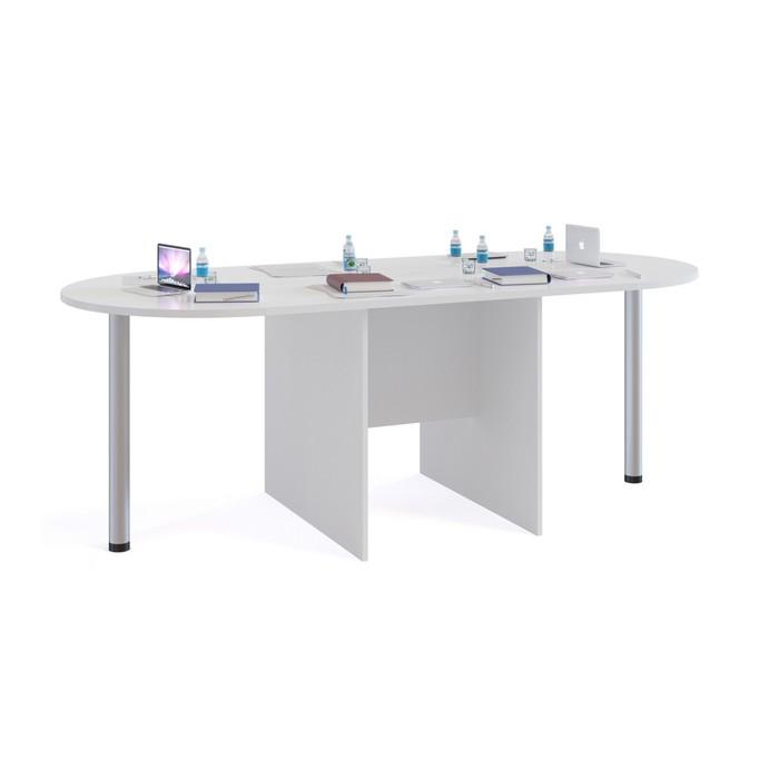 Стол для переговоров «СПР-04+2 шт. СПР-03», цвет белый фото