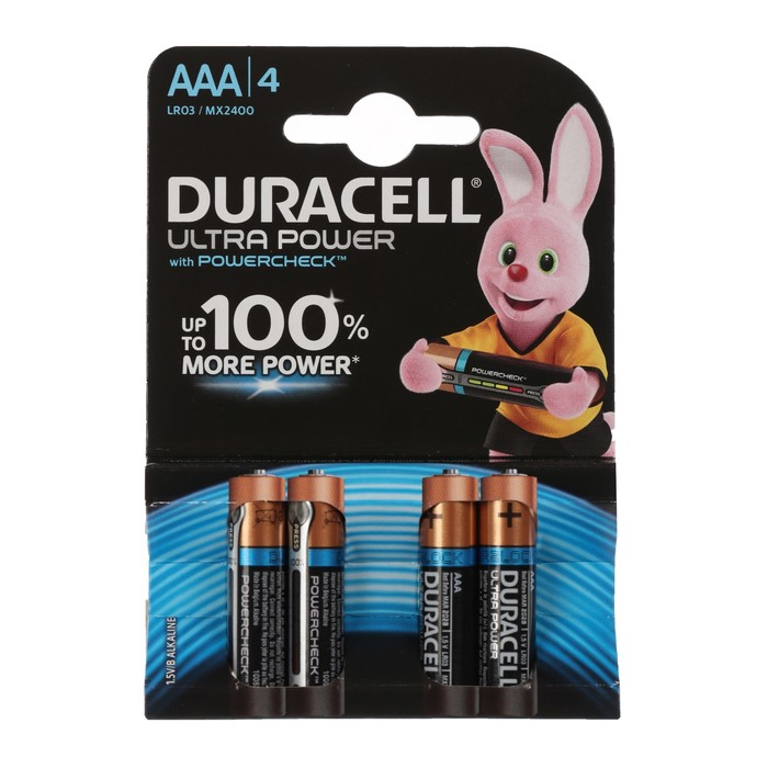 Батарейка алкалиновая Duracell UltraPower, ААА, LR03-4BL, 4 шт фото