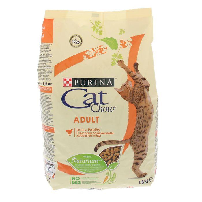 Сухой корм CAT CHOW для кошек, птица, 1.5 кг фото