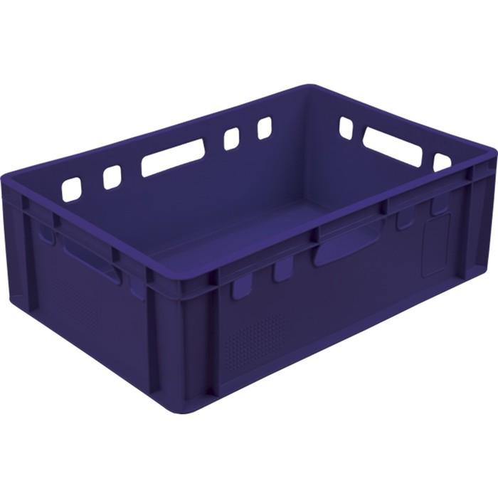 Ящик мясной Е2, сплошной, 600х400х200 синий калиброванный 2,0 кг фото