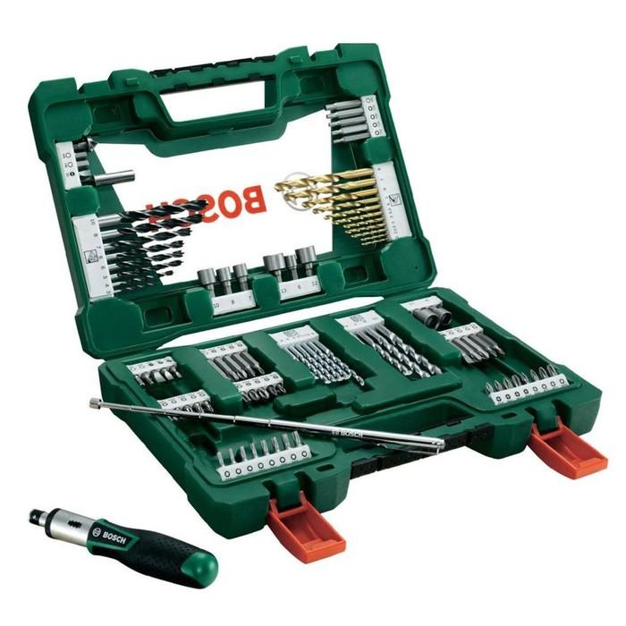 Набор сверл и бит Bosch 2607017195, 91 шт., 30 сверл, 49 бит, торцевые головки, отвертка фото