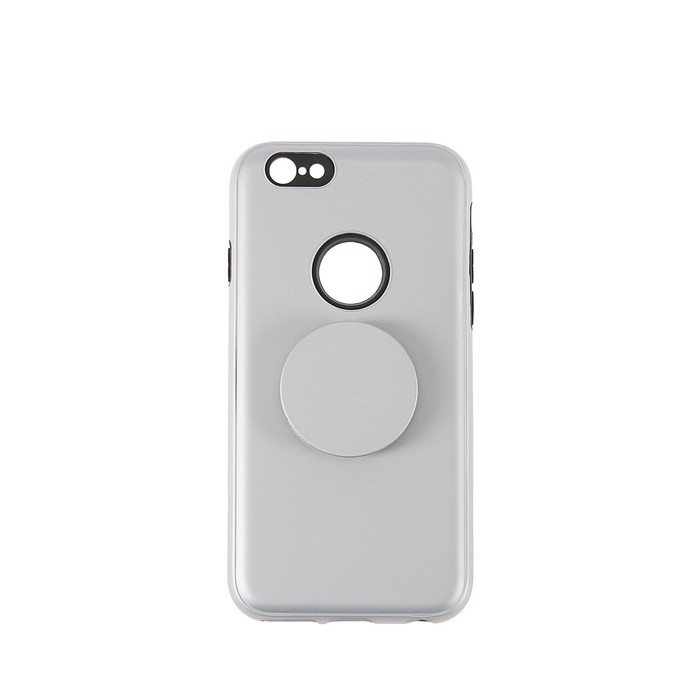 Чехол LuazON для iPhone 6, пластиковый с попсокетом,двойной корпус противоуд., серебристый фото