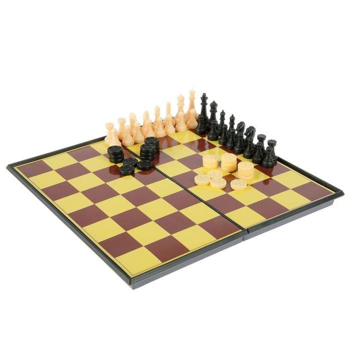Игра настольная 3 в 1 Chess Set: шашки, шахматы, шахматы-шашки, в коробке фото