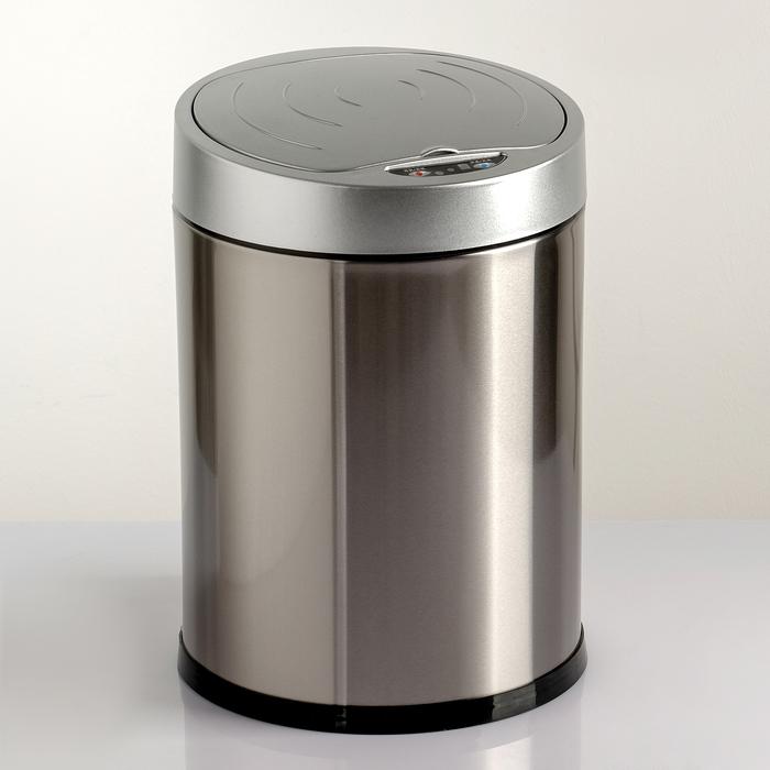 Ведро для мусора сенсорное, 8 л, нержавеющая сталь фото