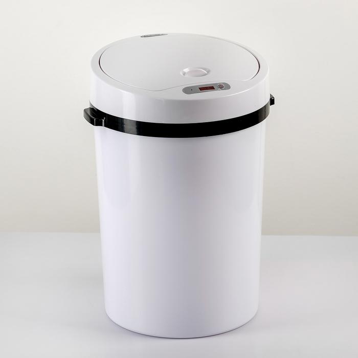 Ведро для мусора сенсорное, 12 л, цвет белый фото