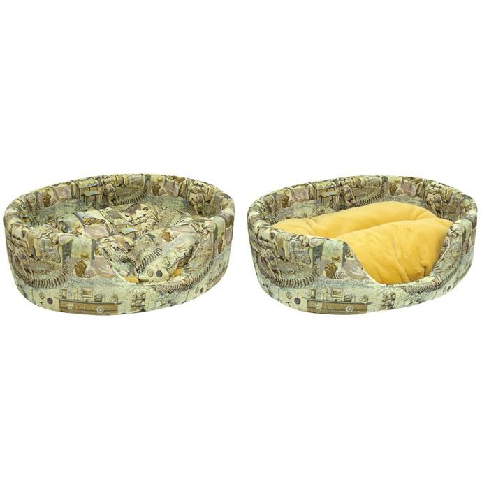 Лежанка Зооник с двухсторонней подушкой, гобелен, 65 х 53 х 22 см, расцветка У камина фото
