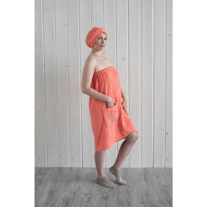 Набор женский для сауны (парео+чалма) с вышивкой, коралл фото