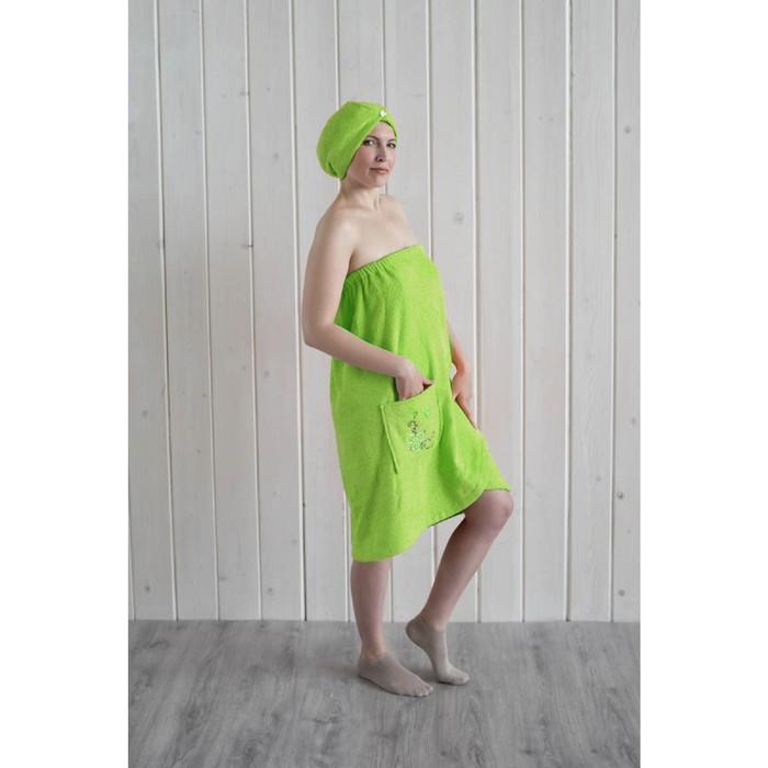 Набор женский для сауны (парео+чалма) с вышивкой, салатовый фото