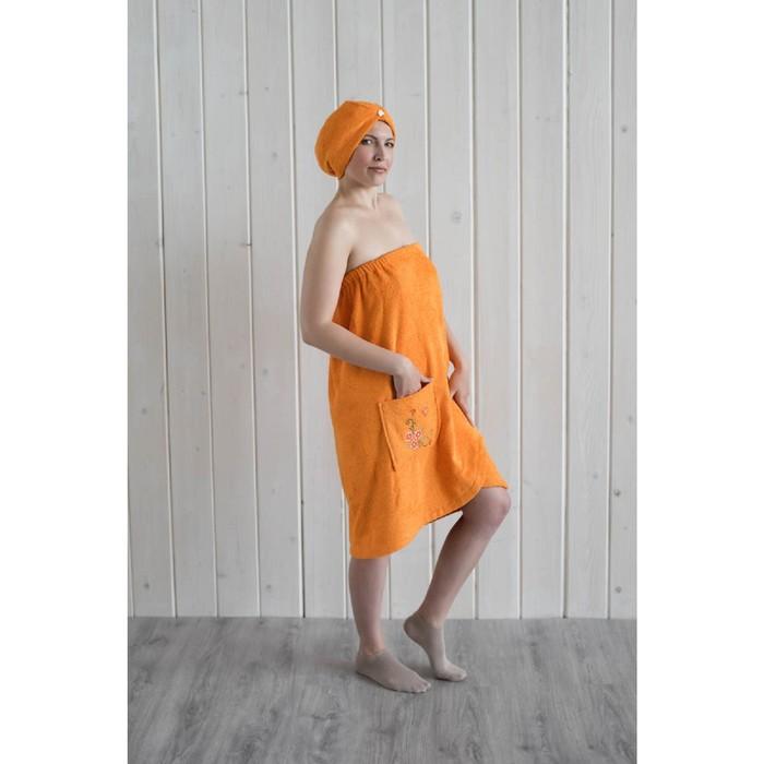 Набор женский для сауны (парео+чалма) с вышивкой, оранжевый фото