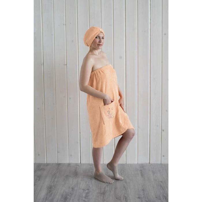 Набор женский для сауны (парео+чалма) с вышивкой, персиковый фото