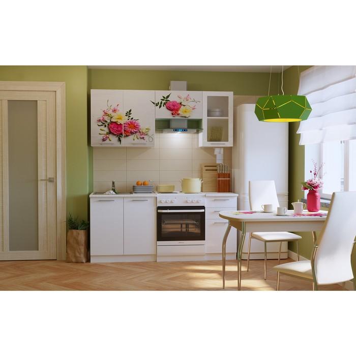 Кухонный гарнитур ЭКО 1800 мм, столешница под мойку 800 мм, цвет эко-28 цветы/белый фото