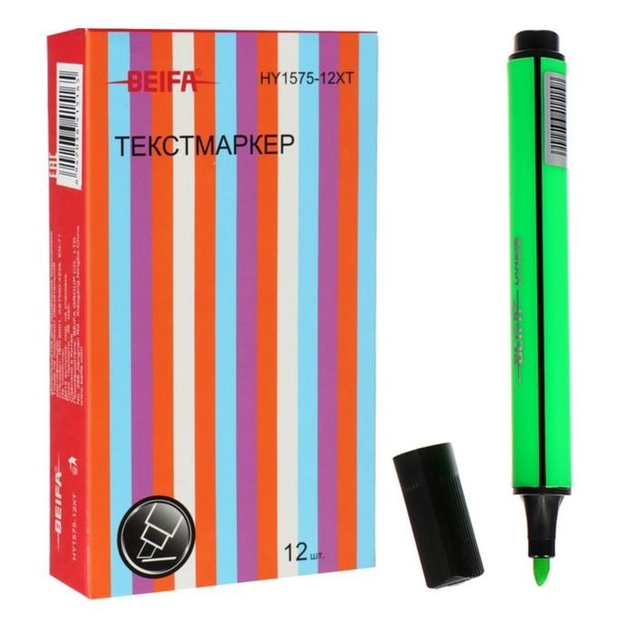 Маркер-текстовыделитель 1-5 мм Beifa, трёхгранный, зелёный фото