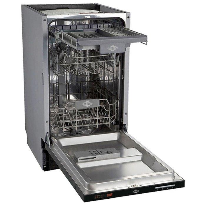 Посудомоечная машина MBS DW-451, встраиваемая, 10 комплектов, 6 программ, 12 л, серебристая фото