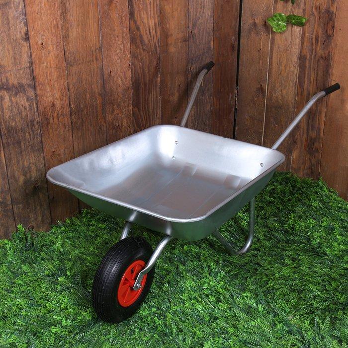 Тачка садовая-строительная, одноколёсная: объём 65 л, груз/п 85 кг, пневмоколесо 3.50-6, кузов 0,5 мм, разборная рама фото
