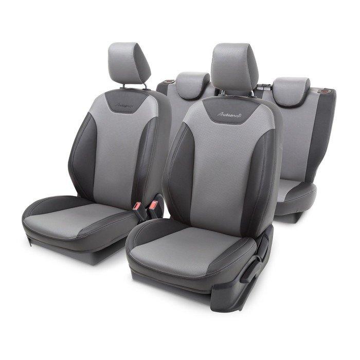 Чехлы на сиденья FORD Focus-3, 2011 -, экокожа + перфорация, деление сиденья и спинки 40-60, поролон 5 мм, 13 предметов, хетчбек/универсал, чёрно-серый фото