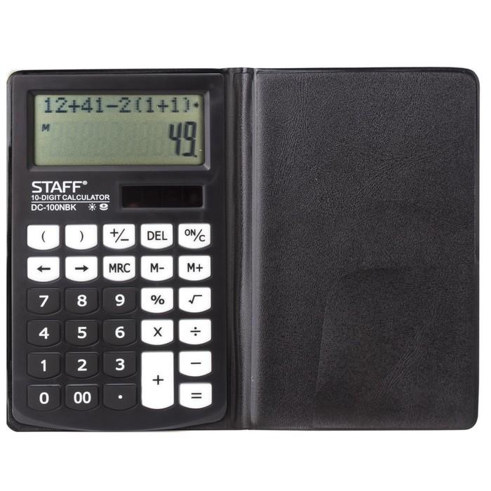 Калькулятор настольный компакт 10-разр STAFF PLUS DC-100NBK, двустрочн, 2-е питание 250430 фото