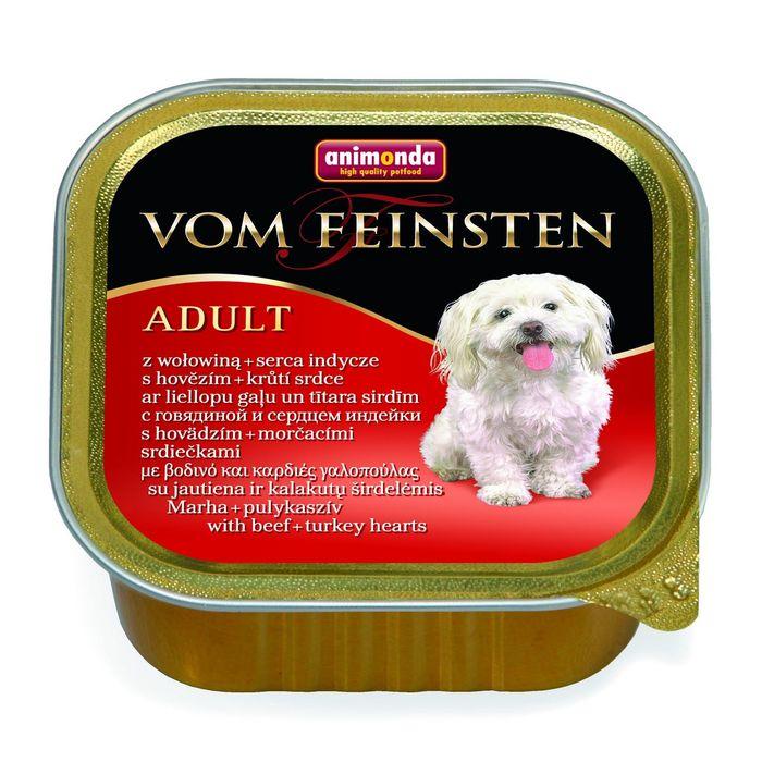 Консервы Animonda VOM FEINSTEN ADULT с говядиной и сердцем индейки для взрослых собак ,150г 1 фото