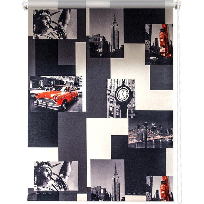 Рулонная штора «Нью-Йорк», 70х175 см, цвет красно-серый Уют фото
