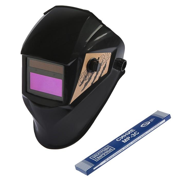 Набор маска сварщика TUNDRA Pro Ф5 и электроды МР-3С, хамелеон, 93х43 мм, DIN 9-13 фото