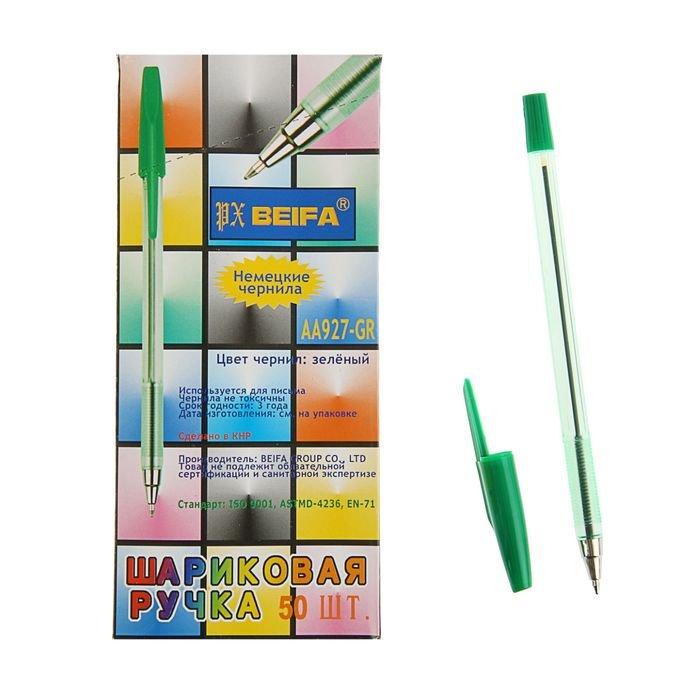 Ручка шариковая Beifa АА 927GR, металлический наконечник, стержень зеленый, узел 0.7мм фото