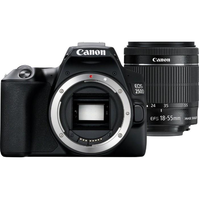 Зеркальный Фотоаппарат Canon EOS 250D, 24.1мп, 18-55мм, 4K, FHD, EF-S, 3