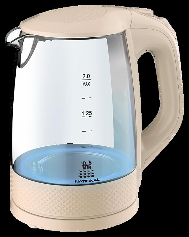 Чайник электрический National NK-KE20302 стекло/бежевый фото