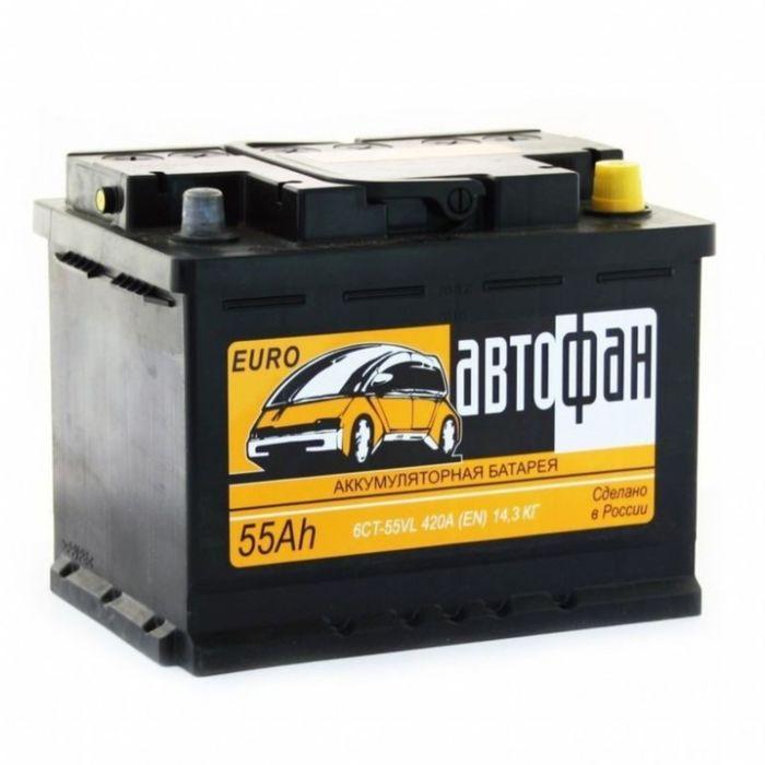 Аккумуляторная батарея Автофан 55 А/ч - 6 СТ АПЗ, обратная полярность фото