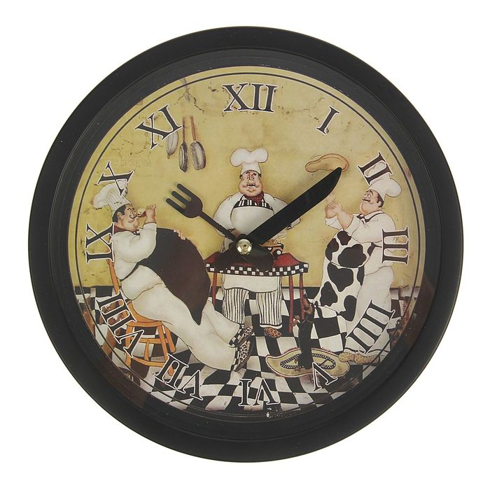 Часы настенные круг, черная рама тонкая, на циферблате 3 повара d=19см фото